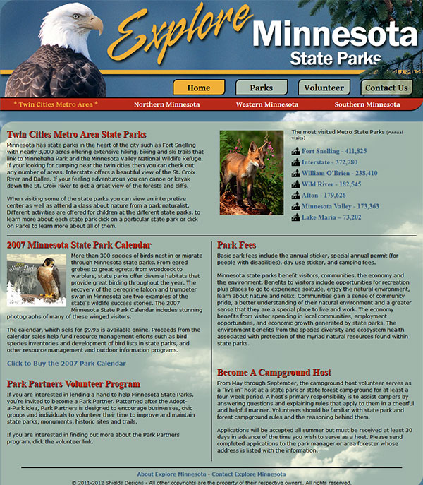 Explore Minnesota Home (Sky theme)