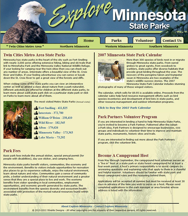Explore Minnesota Home (Green theme)